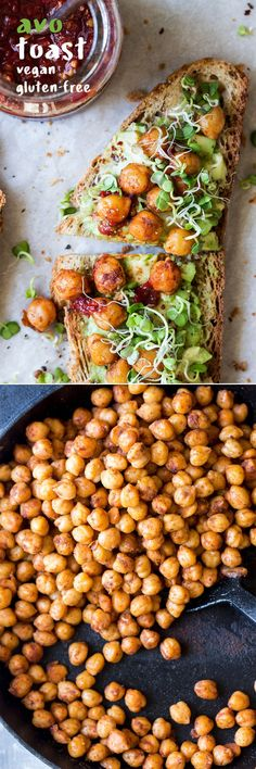 Vegan avocado toast with spiced chickpeas and sprouts is a super simple yet very nourishing meal that makes an awesome breakfast or lunch. It's gluten-free. Avocado Recipes, Lunch Recipes, Whole Food Recipes, Breakfast Recipes, Vegetarian Recipes, Dinner Recipes, Healthy Recipes, Group Recipes, Spicy Recipes