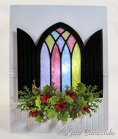 Grand Gothic Window Stained Glass SAMPLE - Poppy Stamp/Memory Box Dies.  Can be also used with the Christmas Candle spray