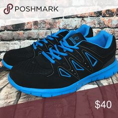 🆕 Black & Blue Triangle Sneaker There shoes were made for running!  Thick soles for all day comfort and bright colors for visual flair! Q Sport Shoes Athletic Shoes