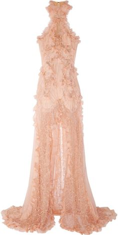 Alexander McQueen Ruffled Bead Embellished Chiffon and Lace Gown   peached Blush    dressmesweetiedarling