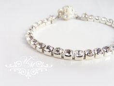 """Czech Clear Crystals Bracelet / Bracelet is 6.5"""" long. Different sizes are available. Bracelet Weight : 1g Each single Czech Crystals is 4mm 100% Brand New / https://www.etsy.com/listing/168300478/wedding-jewelry-single-strand-czech"""