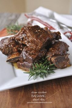 These delicious, tender, fall of the bone short ribs are done in the slow cooker. W/tomato sauce, balsamic, garlic, & a rub: rosemary, sage, garlic & onion powder, oregano, paprika
