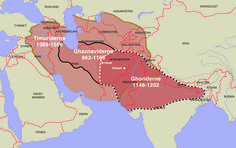 The realms of the Ghaznavids, the Ghorids and the Timurids shown on a modern map by Moesgaard Museum. History Of India, World History, Turkey History, Turkic Languages, Underground Bunker, Gernal Knowledge, Map Globe, Historical Maps, 14th Century
