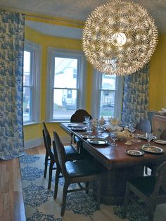 Antique table set within modern decor setting