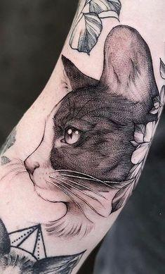 tolles Katzentattoo - Tattoo INK/ dots and lines/ creative works unique - Cat Face Tattoos, Tattoos Bein, Cat Portrait Tattoos, Animal Tattoos, Body Art Tattoos, Sleeve Tattoos, Trendy Tattoos, Black Tattoos, Small Tattoos