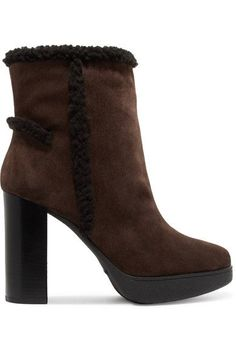 TOD'S | Shearling-trimmed suede platform ankle boots #Shoes #Boots #Ankle #TOD'S