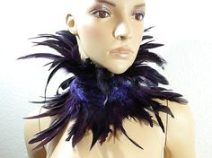 Purple Feather Necklace Choker Gothic Burlesque Fetish Travesty Ruffle Collar Steampunk Larp Con Wedding Marriage Corset Corsage