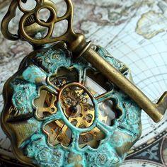 Steampunk Explorer pocket watch key necklace