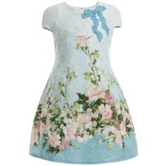 Paesaggino - Black, Red & Green Floral Brocade Dress & Belt | Childrensalon