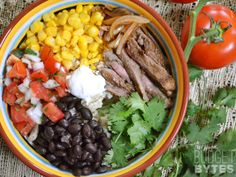 Southwest Steak Bowls - Budget Bytes - I substitute parsley for the cilantro and yogurt for the sour cream. Beef Recipes, Mexican Food Recipes, Dinner Recipes, Cooking Recipes, Healthy Recipes, Dinner Ideas, Mexican Dishes, Yummy Recipes, Recipies