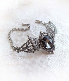 Silver night wings  winged bracelet with grey by MidnightVision