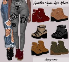 The Sims 4 Semller Acne Lila Shoes The Sims 4 Pc, Sims 4 Cas, My Sims, Sims Cc, Sims 4 Mods Clothes, Sims 4 Clothing, Sims Mods, Dockside Shoes, The Sims 4 Cabelos