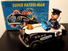 Rare Tinplate Super Patrol-Man Police Car Battery Op Toy, M-T, Japan. VGiB