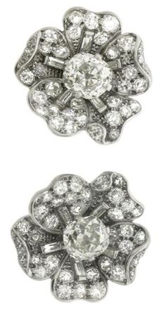 Diamond flower earrings by Cartier London, English, circa 1940.