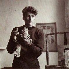 Lucian Freud and his hawk.