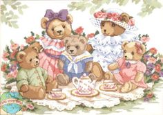 Dimensions - Teddy Tea Party - Cross Stitch World Cross Stitch Baby, Cross Stitch Kits, Cross Stitch Patterns, Cross Stitching, Cross Stitch Embroidery, Art D'ours, Dimensions Cross Stitch, Barbie Coloring Pages, Bunny Drawing