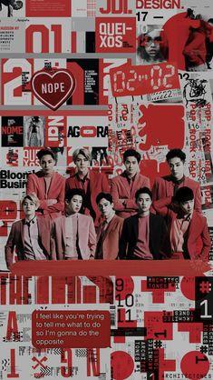 (left to right) kai - sehun - suho - xiumin bottom; (left to right) baekhyun - chanyeol - chen - d.o - lay Kpop Exo, Exo Chanyeol, K Pop, Exo Lucky, Exo Fan Art, Exo Lockscreen, Exo Ot12, Exo Chanbaek, Red Wallpaper