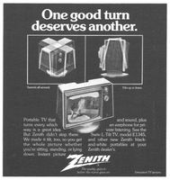 Zenith Portable Black and White TV 1973 Ad Picture
