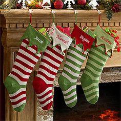 Personalized Knit Christmas Stockings - Seasonal Stripes - 9785
