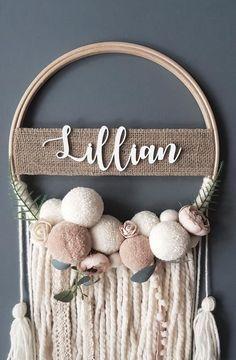 # crochet crafts to sell ideas etsy Boho Nursery Dream Catcher Diy Dream Catcher, Dream Catcher Nursery, Boho Nursery, Girl Nursery, Baby Mobile, Pom Pom Crafts, Diy Wreath, Etsy, Diy Crafts