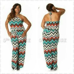 Aztec Halter Jumpsuit Cute and modern Aztec Halter Jumpsuit. Looks great with heels, flats, or sandals. Pair with a blazer for Day attire, and remove blazer for night wear. Thank you and Happy Poshing!!!! Approx sizing= 1x= size 13-15, 2x= size 15-18, 3x= size 18-20. Pants Jumpsuits & Rompers