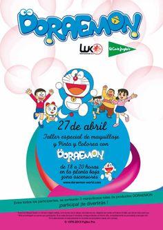"""Sábado 27 de abril. Actividades infantiles de Doraemon de El Corte Inglés: """"Taller especiail de maquillaje con Doraemon"""" y """"Pinta y colorea con Doraemon"""". De 18 a 20h en El Corte Inglés de Marineda City (zona de ascensores, planta baja)"""