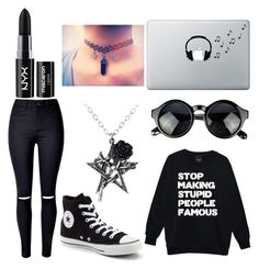 """""""I guess you're done with me too now"""" by piccolinaballerina ❤ liked on Polyvore featuring WithChic, Converse, NYX and Music Notes"""