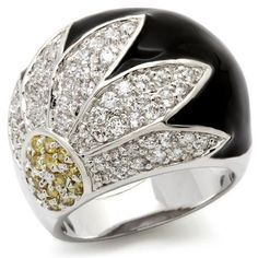 WOMEN'S SILVER TONE BLACK EPOXY DOME STYLE CLEAR CZ FASHION RING SIZE 6 (LAST 1) #HopeChestJewelry #Cocktail, $22.94 with free shipping.