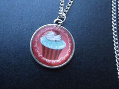 Domed Glass Cupcake Pendant Necklace by LilliRoseCreations on Etsy, £4.00