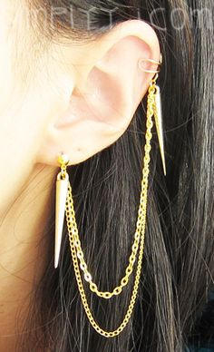 Gold Spikes Long Double Chain Cuff Earring by simplyyj on Etsy, $10.00