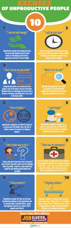 10 Excuses of Unproductive People infographics #workplace #business #success