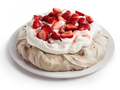 Chocolate Pavlova with Strawberries and Cream Recipe : Food Network Kitchen : Food Network - FoodNetwork Meringue Desserts, Just Desserts, Delicious Desserts, Dessert Recipes, Cake Recipes, Chocolate Pavlova, Decadent Chocolate, Chocolate Desserts, Valentines Day Chocolates