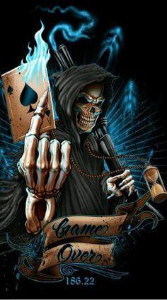 over reaper skull vinyl gra. Totenkopf Tattoos, Skull Tattoos, Body Art Tattoos, Flame Tattoos, Dark Fantasy, Fantasy Art, Tattoo Crane, Grim Reaper Art, Skull Art