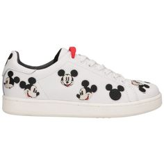 Moa Master of Arts Mickey Mouse Sneakers in White Leather (€152) ❤ liked on Polyvore featuring shoes, sneakers, real leather shoes, eyelets shoes, mickey mouse shoes, white shoes and white trainers
