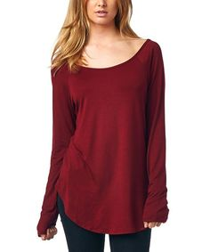 Look what I found on #zulily! Burgundy Scoop Neck Tunic #zulilyfinds