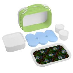 #floral - #Abstract Blue Flower Lunch Box