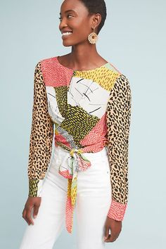 1e1a80be22ad Reminiscent of a hand-stitched quilt, the patchwork pattern on this blouse  evokes a. Anthropologie
