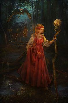 Medieval Fantasy, Dark Fantasy, Fantasy Art, Baba Yaga, Russian Folk, Russian Art, Witch Art, Fairytale Art, Wow Art