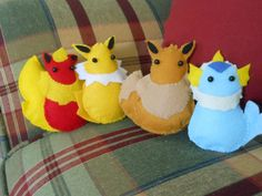 Eevee Evolution Set of Four Pokemon Felt Plushies by chibiwings, $20.00