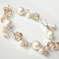 Gold Crystal Bracelet Golden Bracelet Gold by somethingjeweled