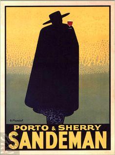 Sandeman 1931 Porto & Sherry French Wine Vintage Poster Advertisement…