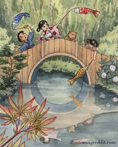 Beautiful Print of Japanese Festival 'Children's Day' by ssalsbury on Etsy