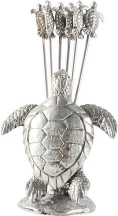 The extraordinary detail in our Pewter Sea Turtle Cheese Picks set is due to the amazing versatility of Vagabond House pewter. Turtle Crafts, Russian Tortoise, Protected Species, Turtle Love, Hens And Chicks, Tortoises, Pewter, Creatures, Sea Turtles