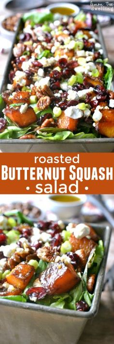 Mixed greens topped with roasted butternut squash, pecans, dried cranberries, goat cheese, and maple mustard vinaigrette. The BEST Thanksgiving salad! Roasted Butternut Squash Salad Tricia Chism triciachism Holiday Ideas Mixed greens topped with r New Recipes, Vegetarian Recipes, Dinner Recipes, Cooking Recipes, Healthy Recipes, Recipies, Holiday Recipes, Healthy Salads, Healthy Eating
