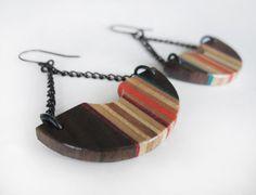 Drop earrings in skateboard and walnut, geometric dangle earrings, earhooks, earwires, dark wood, orange, red, blue