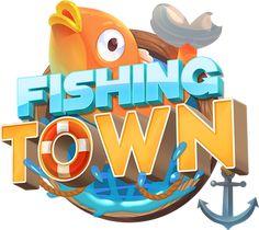 Fishing Town Game on Behance Game Font, Game Ui, Game Logo Design, Fish Logo, Splash Screen, Game Title, Logos, Typography Art, Text Design