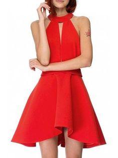 #NewYear #Zaful - #Zaful Keyhole Neckline Solid Color Backless Cut Out Dress - AdoreWe.com