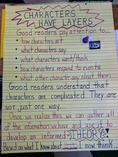 Character anchor chart {Image only, but a great one!} Character anchor chart {Image only, but a great one! Reading Lessons, Reading Strategies, Reading Skills, Teaching Reading, Reading Comprehension, Reading Resources, Learning, Guided Reading, Glad Strategies