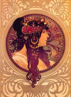 'Donna Orechini' by Artist Alphonse Mucha. Mucha was a Czech Art Nouveau painter and decorative artist, known best for his distinct style.  #illustrations #painter