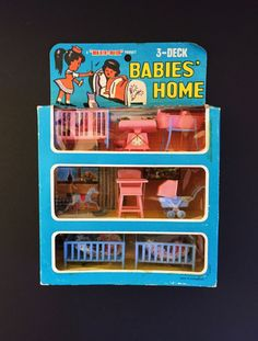 Time to play house! This new in package nursery furniture was produced by Blue Box. It comes with 6 tiny baby dolls, 3 cribs, a bathtub, a scale, a carriage, a high chair and a rocking horse. All the pieces are are made of plastic in 1/24 scale. The box measures 9 3/4 x 6 3/4 x 2 The contents of the box are in unused condition! There is some discoloration visible on the scale. The box itself is in very good condition with no tears, missing cardboard or cellophane. There are ...